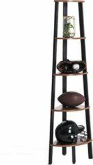 VASAGLE hoeklegbord, boekenkast met 5 legborden in industriële uitvoering, ladderrek met metalen frame, voor woonkamer, kantoor, vintage, donkerbruine LLS35X