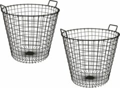 Grijze Merkloos / Sans marque 2x stuks opbergmand / draadmanden metaal antraciet 45 x 45 cm - hout / papier opslag in huis - decoratiemand / haardhoutmand / papiermand