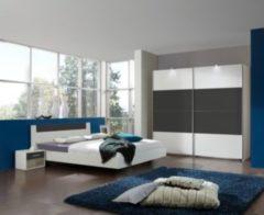 Schlafzimmer mit Bett 180 x 200 cm alpinweiss/ graphit Wimex Ilona