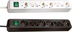 Brennenstuhl Eco-Line Steckdosenleiste mit Schalter 4 Schuko 4 Euro 1,5m Farbe: Schwarz