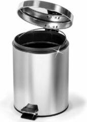 Zilveren Artmoon Robuuste RVS Pedaalemmer - 5 Liter