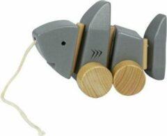 Everearth Trekdier haai hout grijs touw 17 cm