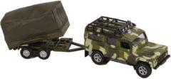 Groene Kids Globe Landrover Military Defender Met Aanhanger - Speelgoedvoertuig: schaal 1:32