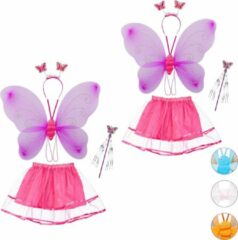 Roze Relaxdays 2 x fee kostuum kinderen - vlindervleugels - kinderkostuum - toverstaf – diadeem