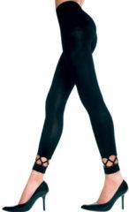 Music Legs – Basic Legging met Opvallende Patronen aan Onderzijde Stijlvol met een Twist – Maat One Size - Zwart