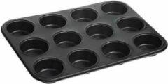 Zwarte KingHoff bakvorm/muffinvorm voor 12 cupcakes, muffins, tarteletes, quiches en taartjes