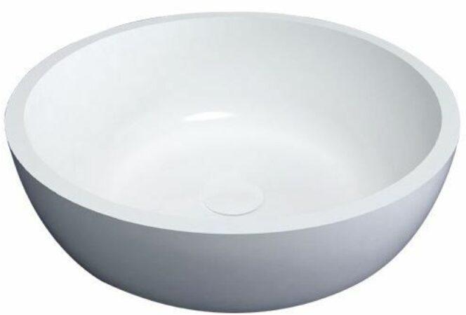 Afbeelding van Witte Best design New Stone waskom 42x15x1.7cm met klikwaste solid surface hoogglans wit 3840230