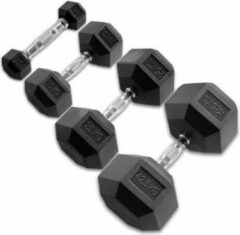Zwarte Body-Solid Hexagon Rubber Dumbbell - per Paar - 27.5 KG Paar - Rubber