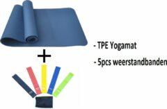 Petasos Fitnesspakket 2-in-1 : TPE Fitnessmat - 183 x 61 x 0.6 cm - Blauw + Weerstandsbanden Set - 5stuks