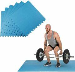 Klarfit Puzzta vloermatten 6 stuks EVA-schuim 12 randstukken MemorySafe blauw