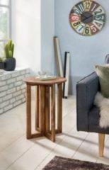 Wohnling Beistelltisch MUMBAI Massivholz Sheesham Design Anstell-Tisch 45 x 45 cm rund Nachttisch Deko Echt-Holz Landhaus-Stil