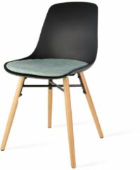 Nolon Nena eetkamerstoel - Zwarte zitting en zacht groen zitkussen