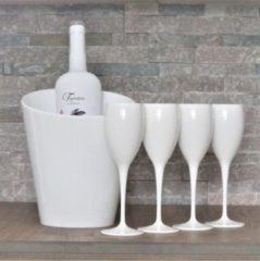 Kadoonline Cadeau set - 4 witte onbreekbare champagne glazen met IJskoeler
