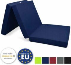 Donkerblauwe Beautissu Vouwmatras met schuimstofvulling 195x80cm donker blauw