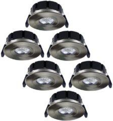 Roestvrijstalen Hoftronic Set van 6 stuks LED inbouwspots Napels IP65 8 Watt 2700K dimbaar 360° kantelbaar RVS