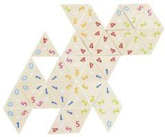 Goki domino driehoekig met cijfers hout 76 stenen