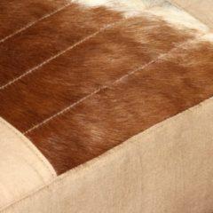Creme witte VidaXL Loungestoel echt geitenleer en canvas crème