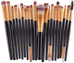 Evvie 20-delige make-up kwasten set - geschikt voor oogschaduw, lippenstift, concealer en foundation - zwart/goud