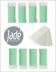 Groene Jadé Depilazione & Co Jadé stripwax Aloe Vera & Argan Oil harspatroon - ontharingswax- voordeelbox wax roll on- universeel - 8 x 100 ml - 50 harsstrips