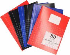 Blauwe Bellatio Decorations 12x stuks A5 schriftjes / schoolschriften - Ruitjes schrift