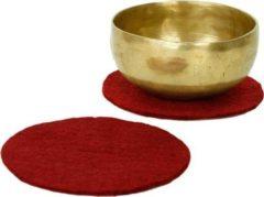 Rode Bloem des Levens Vilten onderzetters voor klankschalen