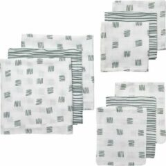 Donkergroene Meyco hydrofiele starterset Block stripe - set van 3x3 groen
