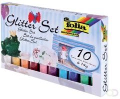 Folia Paper Glitterpoeder Folia blister à 10x 14gr tube ass