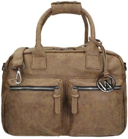 Afbeelding van Wimona Alessia - school / werk 14 inch laptoptas - westernbag - taupe