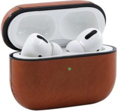 Coverz Leren hoesje bruin AirPods pro - AirPods pro cover case hoesje - AirPods hoesje leer - AirPods case
