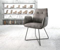 DELIFE Stoel Zoa-Flex X-frame zwart vintage suede-look grijs