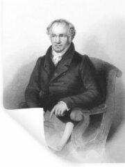 StickerSnake Muursticker Alexander von Humboldt - Een illustratie van Alexander von Humboldt zittend in een stoel - 120x160 cm - zelfklevend plakfolie - herpositioneerbare muur sticker XXL / Groot formaat!