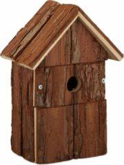 Relaxdays decoratie vogelhuis - houten nestkast - vogelhuisje hout - decoratief huisje