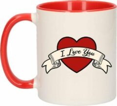 Bellatio Decorations I love you cadeau koffiemok / theebeker wit en rood met hartjes - 300 ml - keramiek - Valentijnsdag / bruiloft - bekers / mokken