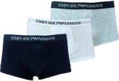 Emporio Armani Men's Pure Cotton 3 Pack Trunks - Bianco Grigio Melange Marine - XL - Multi