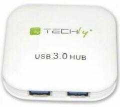 Techly IUSB3-HUB4-WH interface hub 5000 Mbit/s Wit