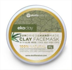 Grijze Ecoclay Ekoclay Clay face mask with Aloe Vera for oily and normal skin, 80g Plastic jar