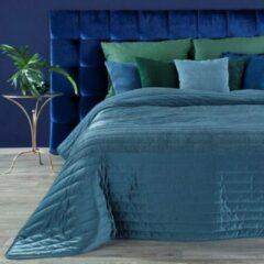Donkerblauwe Luxe bed deken Brulo Polyester sprei 220x240 cm Gewicht-250+70+150 GSM Donker blauw