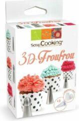 Roestvrijstalen Scrapcooking - Spuitmondjes - Spuitzakken - 3D Froufrou - Decoratie Set/6