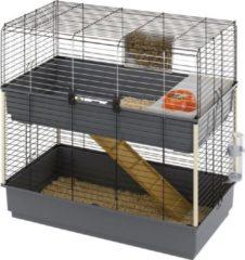 Ferplast Konijnenkooi Rabbit 100 Dubbel - Dierenverblijf - 99x51.5x97.5 cm Grijs