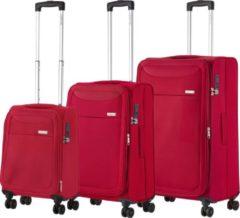 CarryOn Air Kofferset TSA OKOBAN registratie en dubbele wielen Anti-diefstal rits Rood