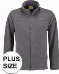 L&S Grote maten grijs fleece vest met rits voor volwassenen 3XL (46/58)