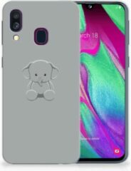 Grijze Back cover Samsung A40 TPU Siliconen Hoesje Baby Olifant