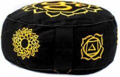 Yogi & Yogini Meditatiekussen goud/zwart 7 chakra's geborduurd - Katoen - Boekweit - 33x17 - Zwart - Goud