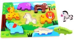 Tooky Toy vormenpuzzel dier 30 x 21 cm hout 8-delig