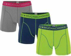 MuchachoMalo - Jongens 3-pack Boxershorts Blauw / Grijs Melange / Lime Groen - 158