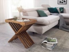Wohnling Beistelltisch MUMBAI Massivholz Sheesham Design Klapptisch Serviertablett und Tisch-Gestell klappbar Landhaus-Stil