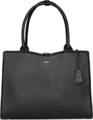 "Zwarte Socha Diamond Leather Businessbag 15.6"" Black"