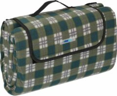 Donkergroene Relaxdays Picknickkleed - fleece deken - strandkleed - 200x200 - outdoor kleed - XXL
