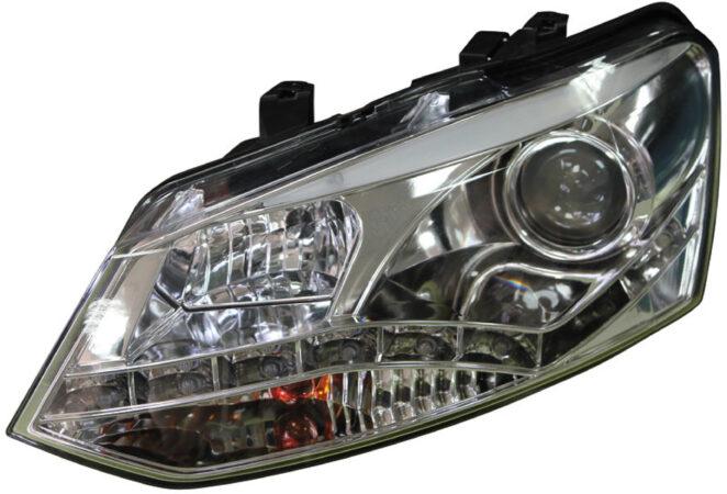 Afbeelding van AutoStyle Set Koplampen DRL-Look passend voor Volkswagen Polo 6R 2009-2014 - Zwart - incl. Motor