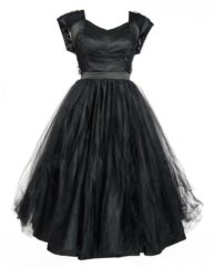 Zwarte Laura Byrnes Lesley-Ann Tule Jurk Zwart Plus Size